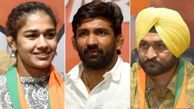Olympians Babita Phogat, Yogeshwar Dutt and Sandeep Singh recently resigned their government jobs to join electoral politics. They are contesting Haryana assembly elections on BJP ticket.(HT Photo)
