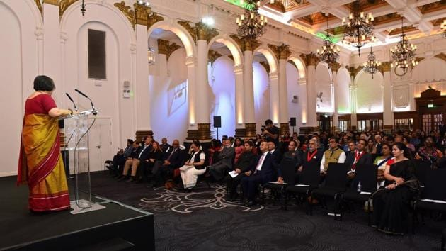 Indian high commissioner Ruchi Ghanshyam addressing the event in the Victorial hall where Gandhi would have had his first breakfast on British soil in September 1888.(HT Photo)