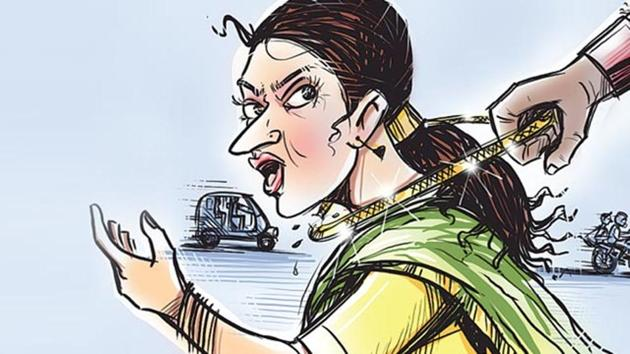 Two men snatched a 60-year-old woman's gold chain in New Delhi's Ashok Nagar.