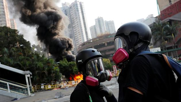 Anti-government protesters are seen during a protest on China's National Day, in Wong Tai Sin, Hong Kong.(REUTERS)