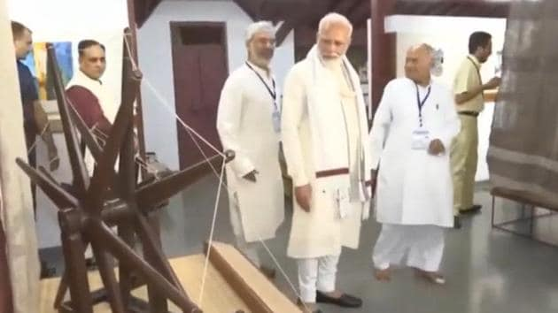 Prime Minister Narendra Modi visited the Sabarmati Ashram in Gujarat's Ahmedabad to pay homage to Mahatma Gandhi. The Ashram was home to Mohandas Karamchand Gandhi for over a decade. PM paid a tribute to Gandhi on his 150th birth anniversary. He also took a tour of the Ashram and interacted with volunteers.