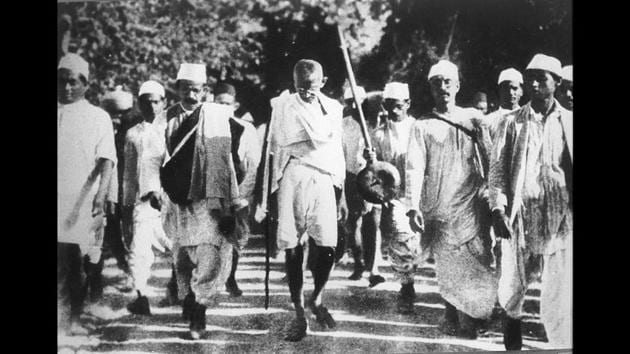 Mahatma Gandhi during the Dandi March in 1930. The march was undertaken to protest the unfair salt laws that were imposed on Indians. It started from Sabarmati Ashram in Ahmedabad and ended in Dandi in coastal Surat over a course of 24 days and nights from March 12 to April 6. The date of flouting the salt law in Dandi carefully chosen to coincide with the 11th anniversary of the Jallianwala Bagh massacre. (Courtesy National Gandhi Museum)