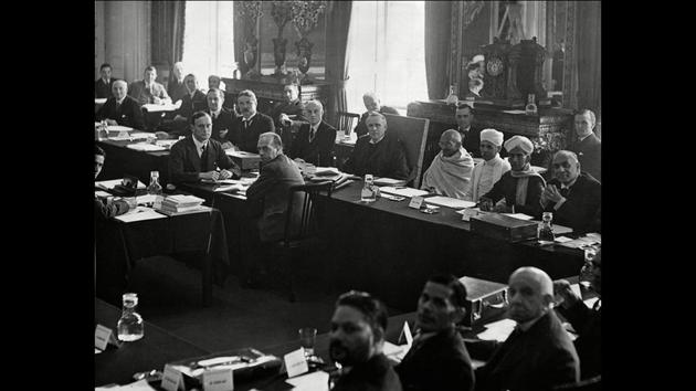 Mahatma Gandhi (centre- right) at the Round Table Conference in London. The three Round Table Conferences, held over the years 1930-32 were a series of peace conferences organised by the British government to discuss constitutional reforms in India with members of the Indian leaders. However, little was achieved through these conferences. (Courtesy National Gandhi Museum)