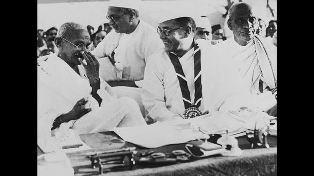 Gandhi and Bose during a political meeting in Haripura, March 02, 1938. Gandhi did not want Bose to have a second term as Congress president and when Bose won against Gandhi's chosen candidate Pattabhi Sitaramayya, Gandhi refused to cooperate with Bose in forming a working committee. This situation forced Bose to resign as president and eventually leave the Congress to form his own political party. (Courtesy National Gandhi Museum)