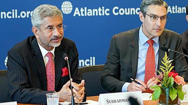External Affairs Minister S Jaishankar and Atlantic Council Damon Wilson (R) in Washington DC on Tuesday.(ANI)