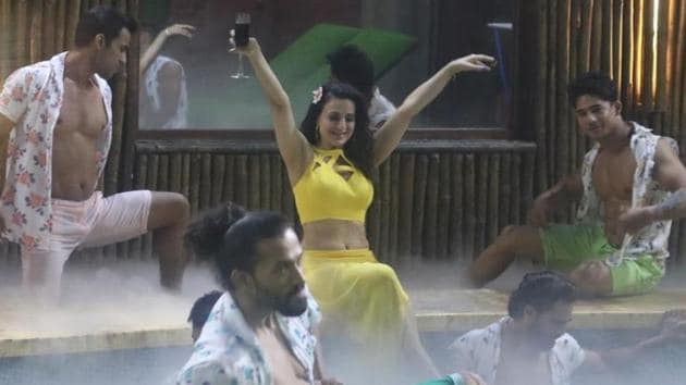 Ameesha Patel performs on day 1 of Bigg Boss.