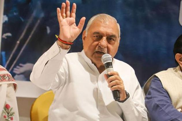 Congress leader Bhupinder Singh Hooda called on all non-BJP parties in Haryana to come together to form the government as counting trends showed the possibility of a hung house in the state.(PTI file photo)