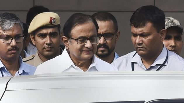 Congress leader and former finance minister P Chidambaram after being produced at Rouse Avenue Court in connection with INX media case, in New Delhi.(File photo: PTI)