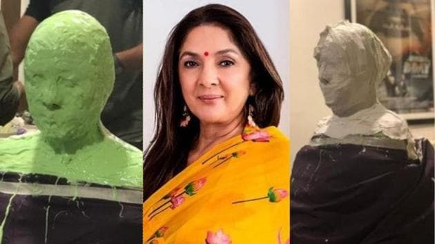 Neena Gupta shares pictures from her prosthetics session for her upcoming film.