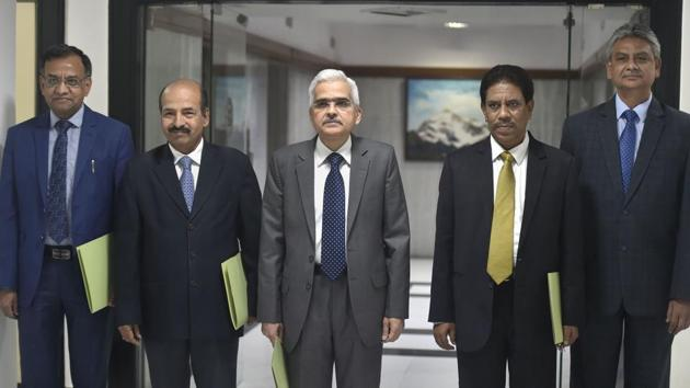 Reserve Bank of India (RBI) Governor Shaktikanta Das along with his deputies arrives for the RBI's fourth bi-monthly monetary policy review meeting of 2019-20, in Mumbai, Friday, Oct. 4, 2019.(PTI FILE)
