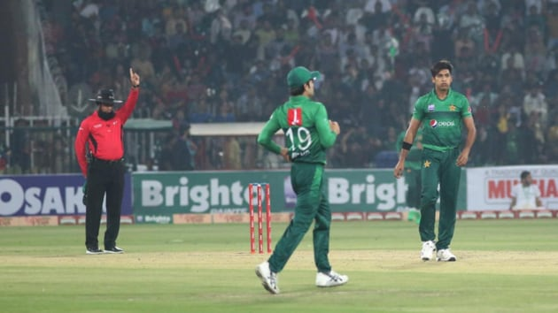 Mohammad Hasnain celebrates after getting a wicket.(PCB)
