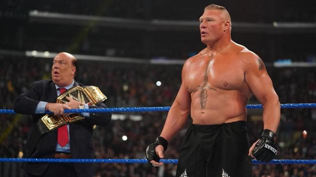 Brock Lesnar is shocked as Cain Velasquez makes his debut in the WWE.(WWE)