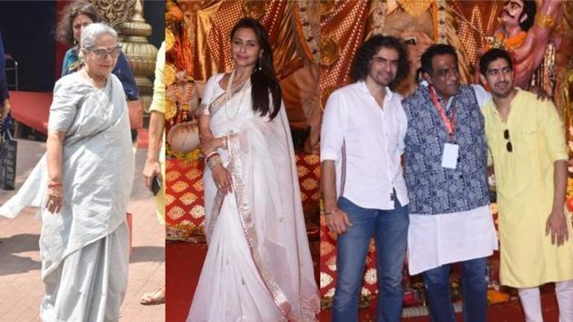 Jaya Bachchan, Rani Mukerji, Imtiaz Ali, Anurag Basu and Ayan Mukerji at a Durga Puja pandal in Mumbai.(Varinder Chawla)