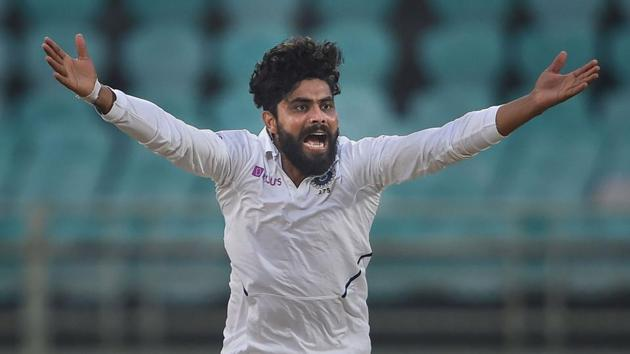 India's Ravindra Jadeja appeals successfully for the wicket of South Africa's Dean Elgar on the fourth day of the first cricket test match.(PTI)