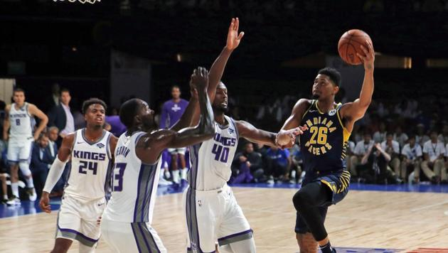 Indiana Pacers player Jeremy Lamb aims for the net during a match against Sacramento Kings at the NBA India Games 2019 in Mumbai.(AP)