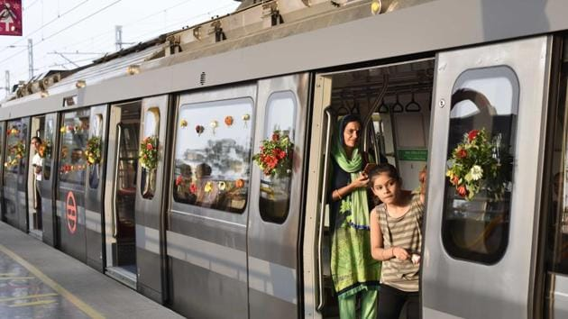 Delhi Metro's Grey Line that connects Najafgarh with the rest of the city began its operations on October 4, 2019.(Vipin Kumar/HT Photo)