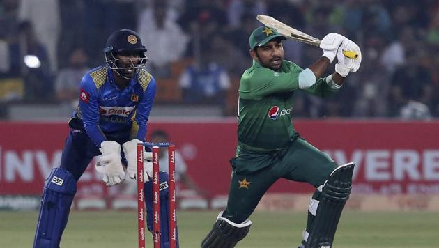 Pakistani batsman Sarfraz Ahmed during 1st Twenty20 match at Gaddafi stadium in Lahore.(AP)