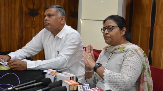 Haryana Pradesh Mahila Congress general secretary Anjali Bansal during a press conference held in Panchkula said she was deliberately left out as she was construed as Ashok Tanwar's supporter.(Sant Arora/HT)