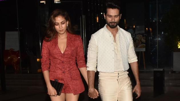 Shahid Kapoor seen with his wife Mira Rajput in Mumbai on Aug 24, 2019.(IANS)