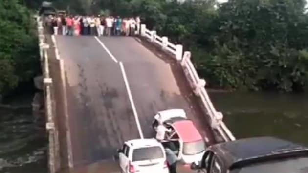 A bridge collapsed in Jungadh, Gujarat.(ANI Twitter)