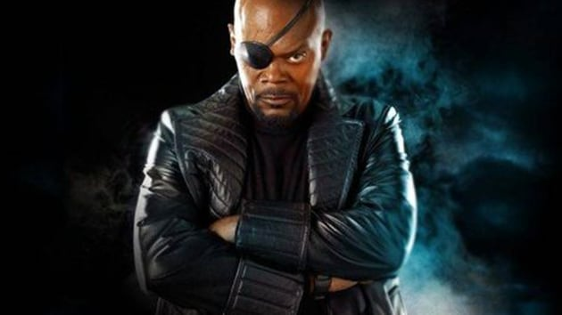 Samuel L Jackson plays Nick Fury in the Marvel Cinematic Universe.