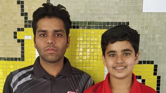 Table tennis players Nikhil Saini and Suhaan Gulati in Ludhiana on Tuesday.(HT PHOTO)