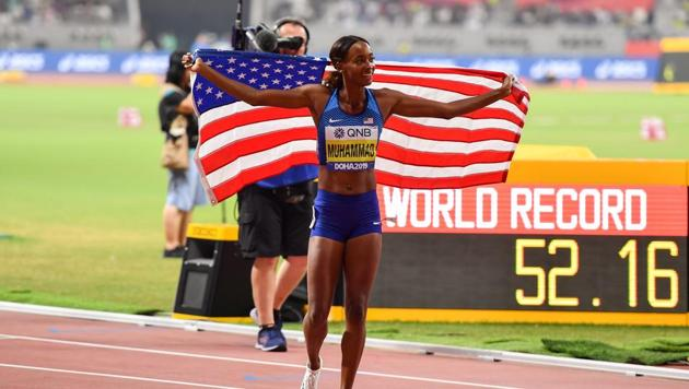 Dalilah Muhammad of USA(Sportsfile via Getty Images)