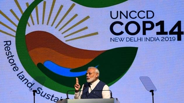 'Prime Minister Narendra Modi at the United Nations Convention to Combat Desertification, Greater Noida, September 9, 2019(AFP)