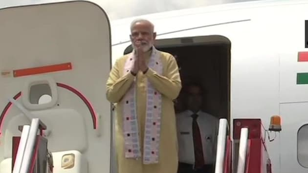 Prime Minister Narendra Modi arrived in Chennai on Friday morning for his informal summit with Chinese President Xi Jinping in Mamallapuram.(ANI / Twitter)