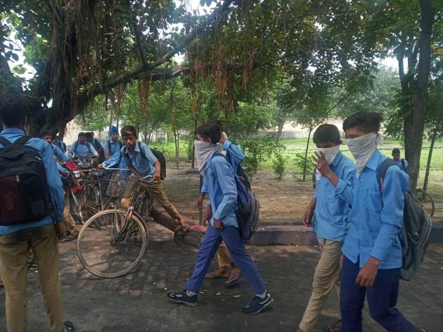 Students wearing masks in the school(HT Photo)