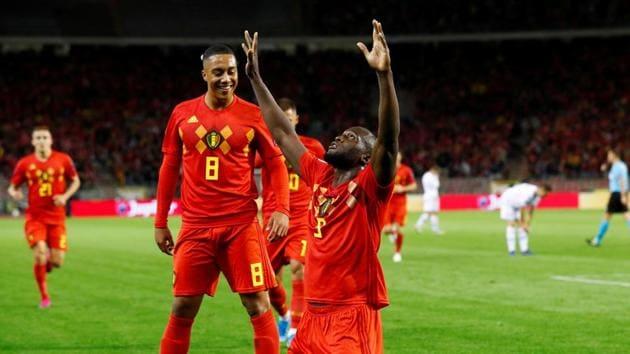 Belgium's Romelu Lukaku celebrates scoring their first goal.(REUTERS)