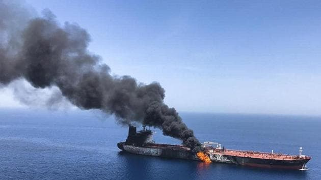 June 13, 2019 file photo of an oil tanker on fire in the sea of Oman. Iran's state-run news agency and other media say an explosion has struck an Iranian oil tanker off the coast of Saudi Arabia on Friday.(Representative Image/AP File Photo)
