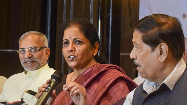 Union Finance Minister Nirmala Sitharaman addresses a press conference, in Pune.(PTI)