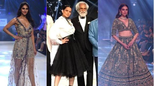 Vaani Kapoor, Kangana Ranaut and Aditi Rao Hydari walk the ramp for various designers.(Varinder Chawla)