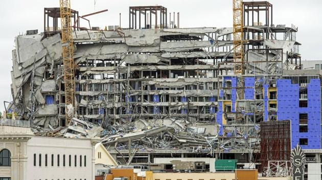 This photo shows the Hard Rock Hotel, which was under construction, after a fatal partial collapse in New Orleans(AP)