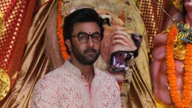 Ranbir Kapoor at a Durga Puja pandal in Mumbai on October 7, 2019.(IANS)