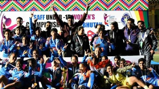 Indian players celebrate after winning the trophy.(AIFF Image)