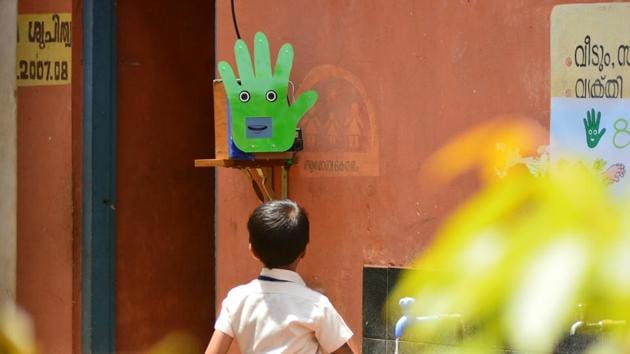 Installed on pilot basis in a government primary school in Wayanad in north Kerala 'Pepe' is a runaway hit.(HT photo)