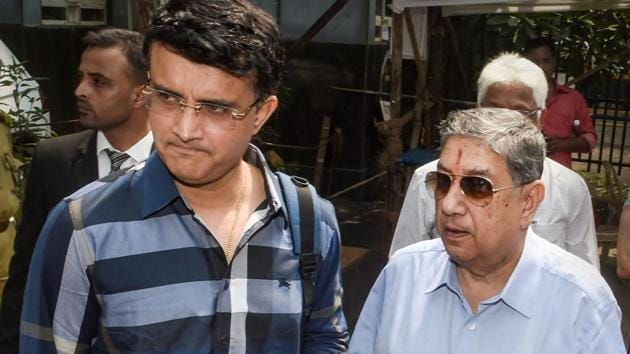Former cricketer Sourav Ganguly along with N Srinivasan at BCCI headquarters.(PTI)