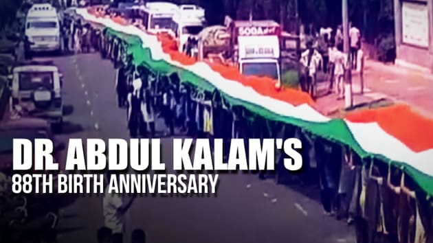 Students in Andhra Pradesh's Visakhapatnam celebrated APJ Abdul Kalam's on his 88th birth anniversary. They paid homage to the former president by participating in a 25000 sq ft tricolour rally. Abdul Kalam was an aerospace scientist, also known as the Missile Man of India . He was born in Tamil Nadu's Rameswaram on 15 October 1931. Dr. Kalam served as the 11th President of India from 2002 to 2007.