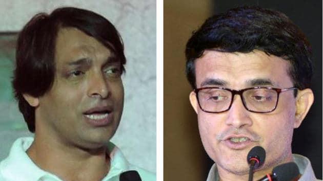 Shoaib Akhtar (L) and Sourav Ganguly (R)(HT Collage)