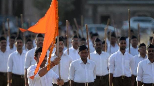 The growth of Rashtriya Swayamsevak Sangh has been the fastest-ever since 2010 with nearly 20,000 new shakhas (RSS camps) added over the last 9 years, a senior RSS office-bearer said.(HT file photo)