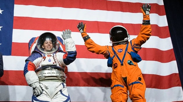 One suit of orange fabric will be worn by astronauts when inside the spacecraft. Astronauts will wear a much bigger mostly white suit on the lunar surface.(Photo: @nasahqphoto)