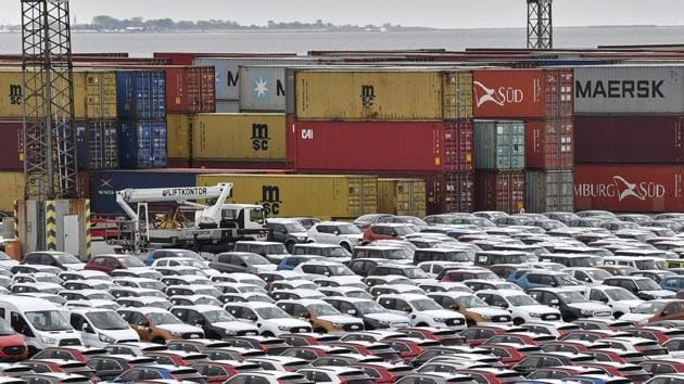 Cars for import and export in the free harbour in Bremerhaven, Germany. A no-deal Brexit could reduce demand by as much as 15% in Europe's second-largest market, according to LMC.