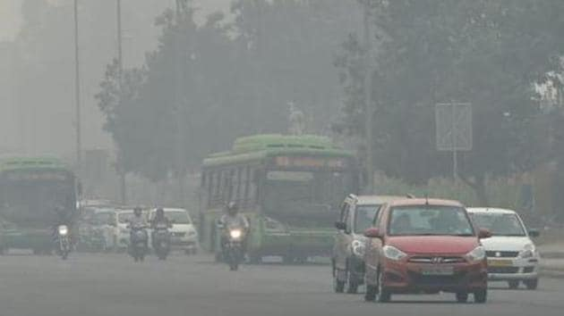 Dust on roads and from open storage of construction material could be spotted in many parts of Delhi.(PTI File Photo)