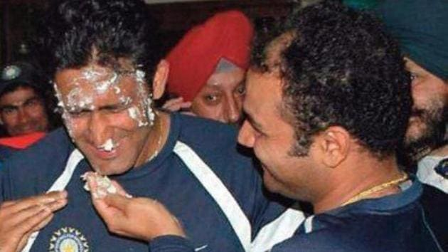 Anil Kumble celebrates his 49th birthday(Twitter/ Virender Sehwag)