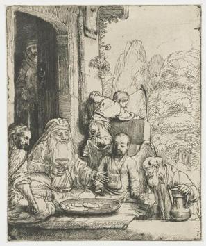 Abraham Welcoming the Angels, a drypoint etching by Rembrandt circa 1656, from the collection of the Rijksmuseum in Amsterdam. Note how he etched Abraham in non-European clothing, with the countenance of a Sufi cleric.(CSMVS)