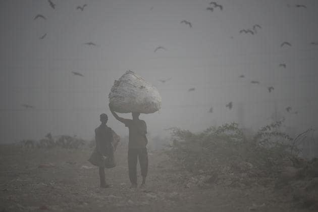 "Ragpickers walk through a cloud of dust at Ghazipur dumping yard. The Haryana Pollution Control Board noted that when compared to 2018, cases of crop residue burning had gone down ""marginally"", despite the harvest beginning early this year. In 2018, between September 25 and October 16, at last 1,250 cases of stubble burning had been reported. This year, only 1,217 cases were reported during the same period. (Burhaan Kinu / HT Photo)"