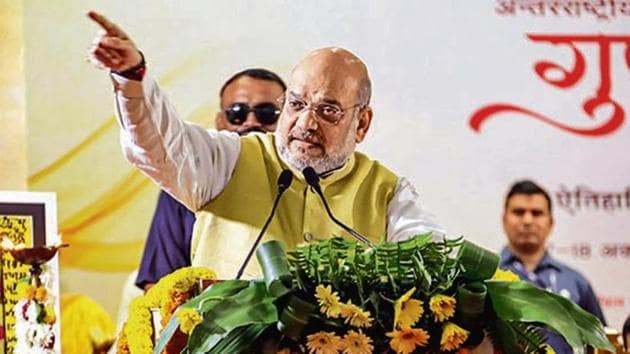 Union home minister Amit Shah on Thursday said there was a need to rewrite history from the Indian point of view.(PTI Photo)