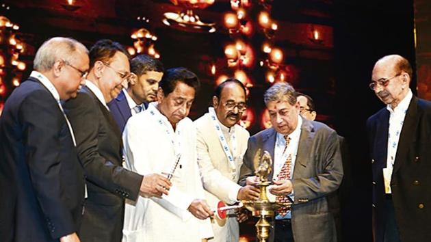 Madhya Pradesh chief minister Kamal Nath lights the inaugural lamp at Magnificent Madhya Pradesh on Friday.(HT Photo)